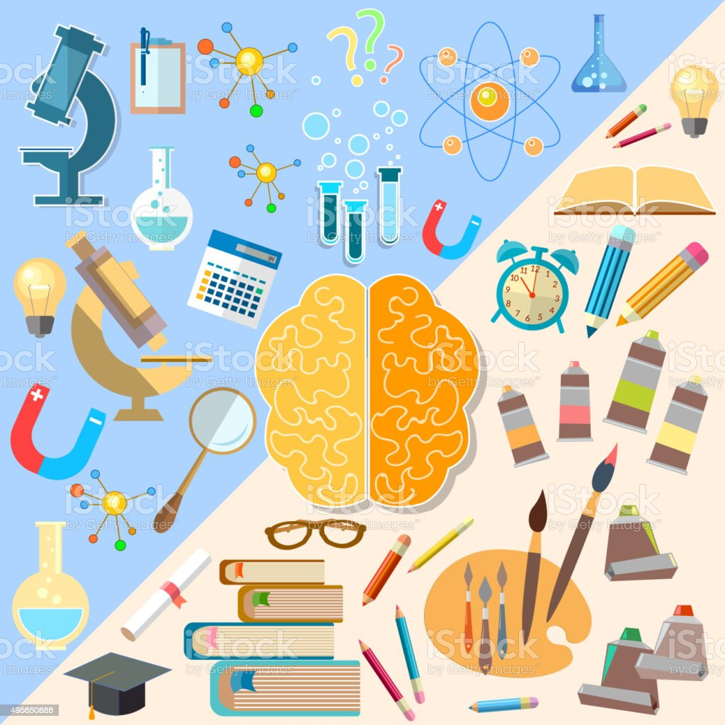 Brain left and right hemisphere power mind art creativity concept vector art illustration