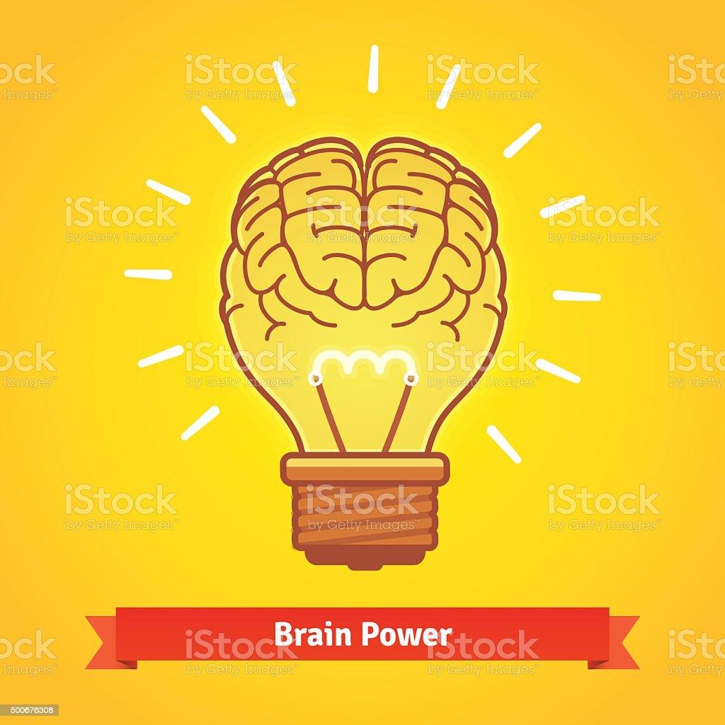 Brain lights up with powerful idea like a bulb vector art illustration