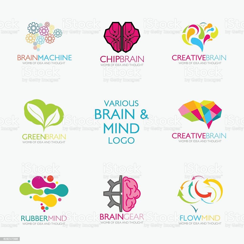 Brain Logo design vector art illustration