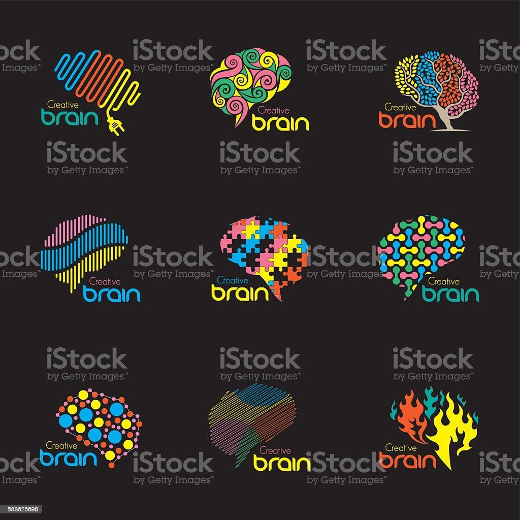 Brain logos vector art illustration