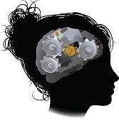 Brain Machine Workings Gears Cogs Woman