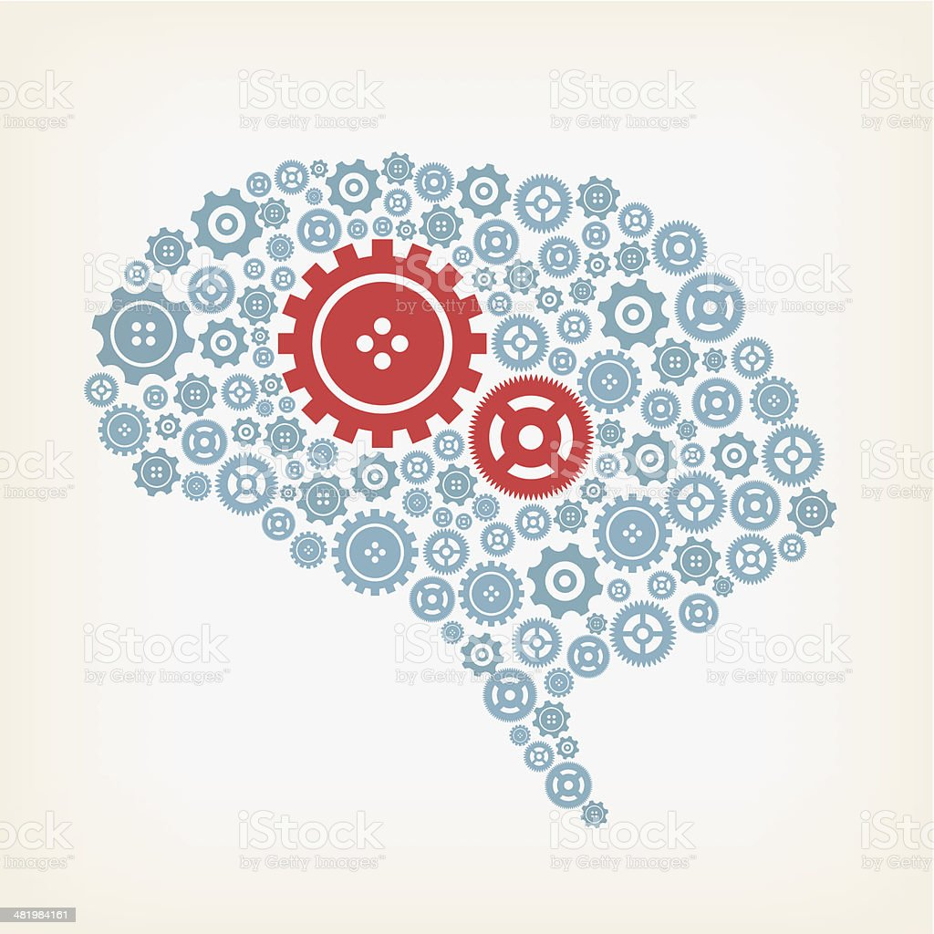 Brain made of gears royalty-free stock vector art