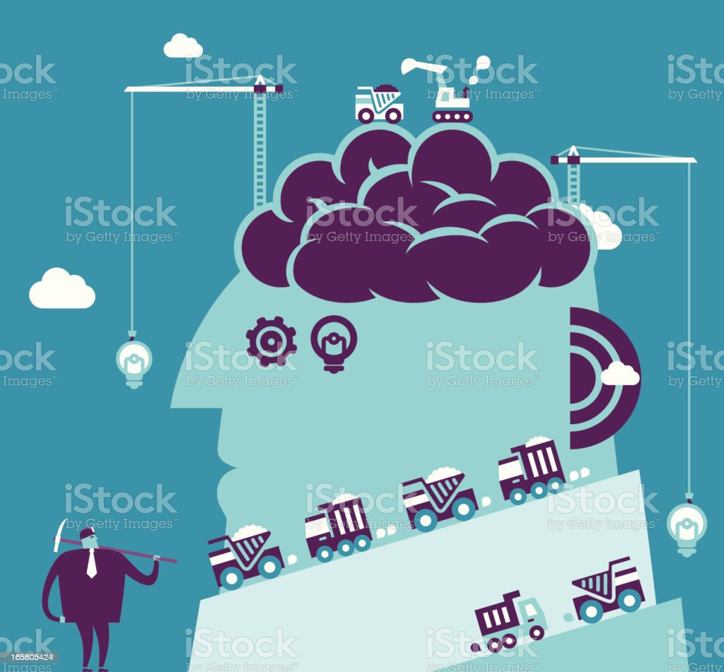 Brain Mining vector art illustration