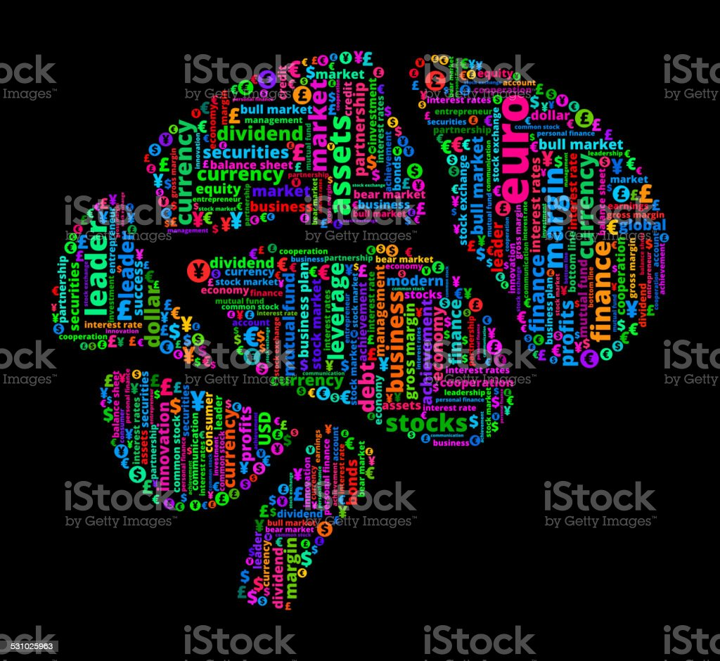 Brain on Business and Finance Word Cloud vector art illustration