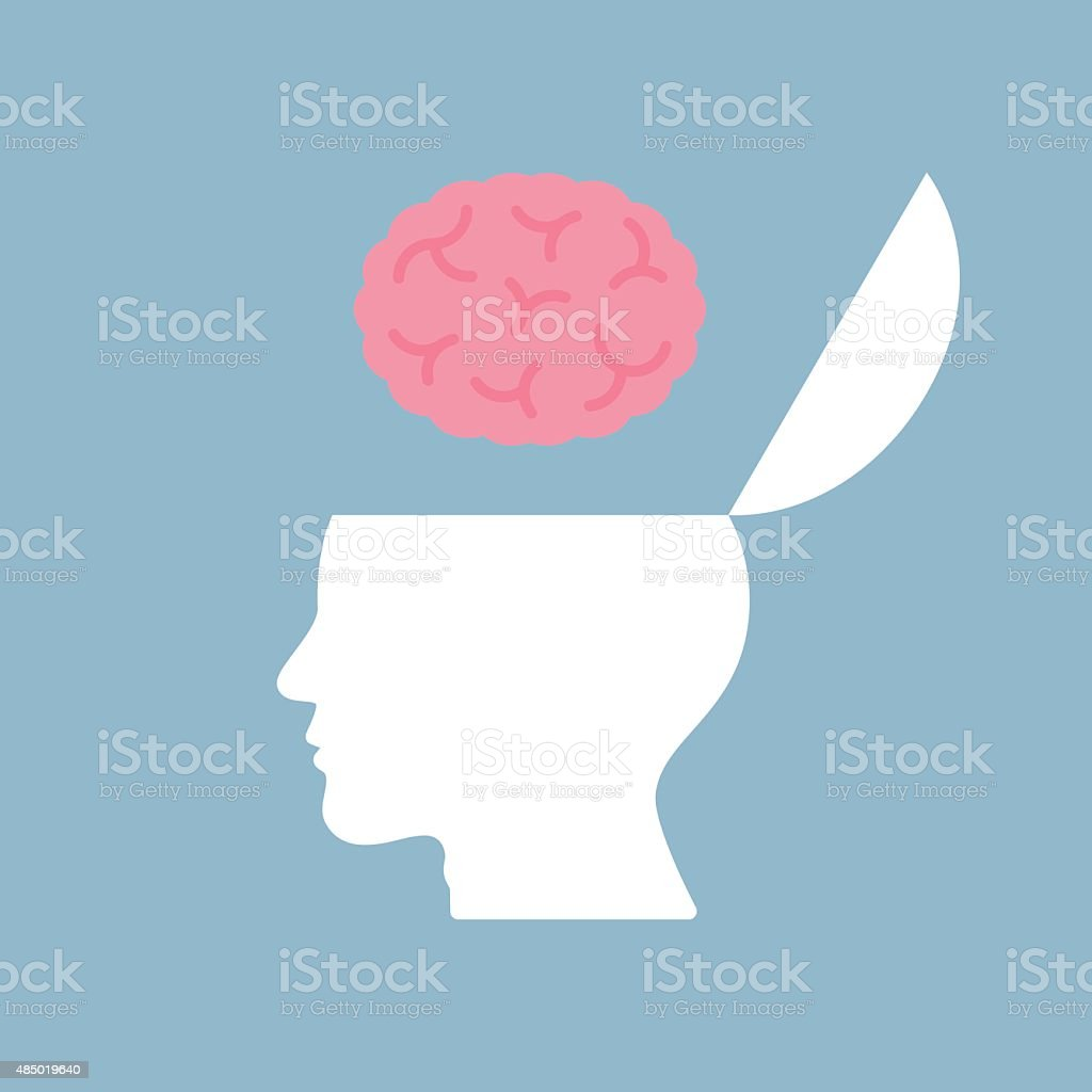brain on top of opened human head vector art illustration