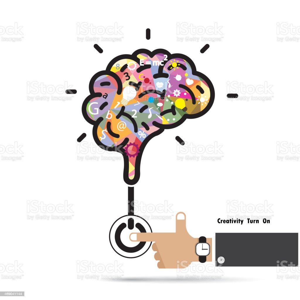 Brain opening concept. vector art illustration