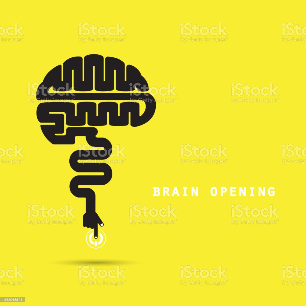 Brain opening concept.Creative brain abstract vector logo design template. vector art illustration
