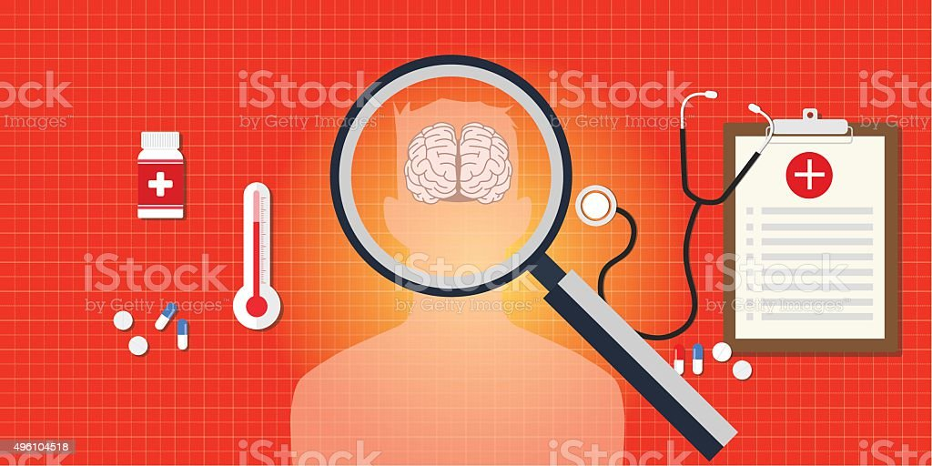 brain or head disease with medical report vector art illustration