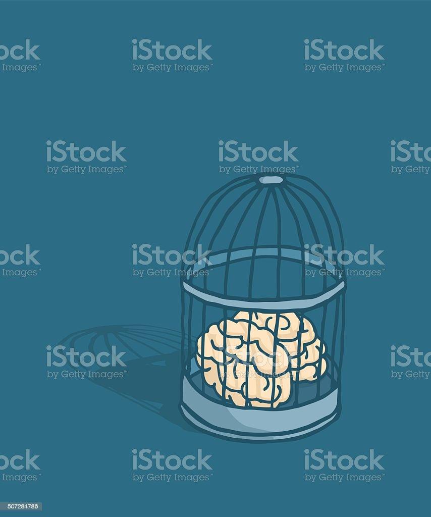 Brain or mind caged in birdcage vector art illustration