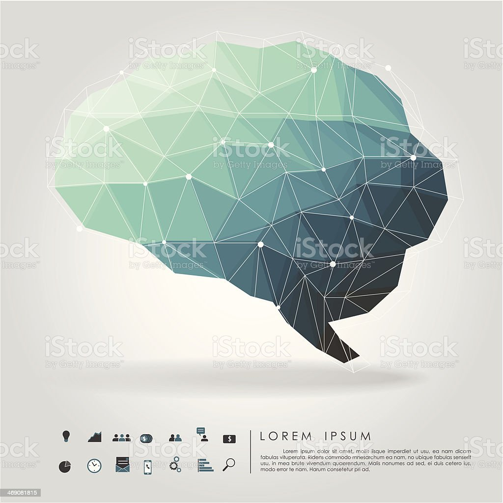 brain polygon with business icon vector art illustration