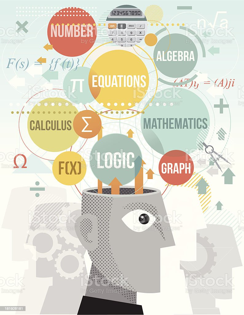 Brain processing mathematical terms royalty-free stock vector art