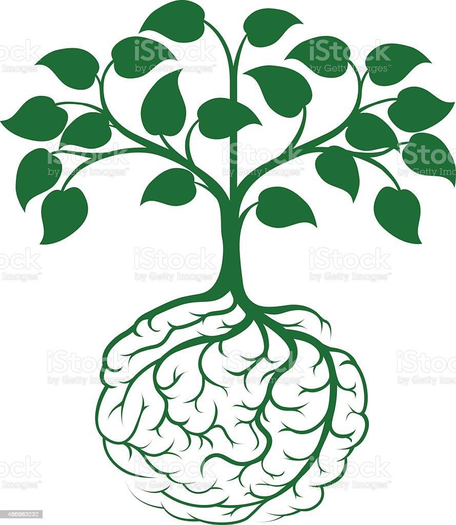 Brain root tree vector art illustration
