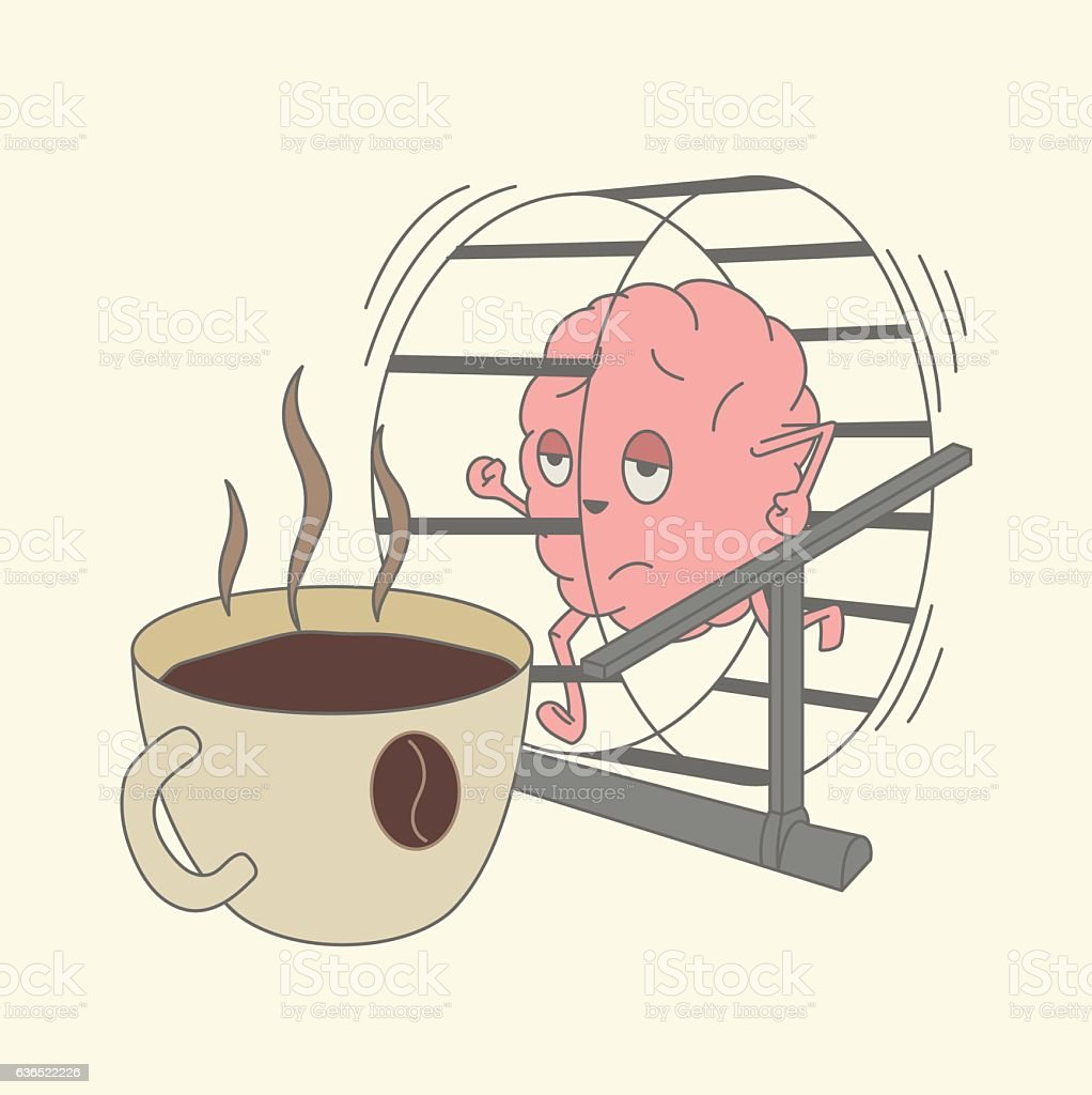 brain runs on a wheel to a cup of coffee vector art illustration