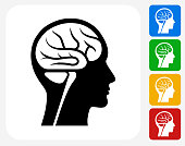 Brain Scan Icon Flat Graphic Design