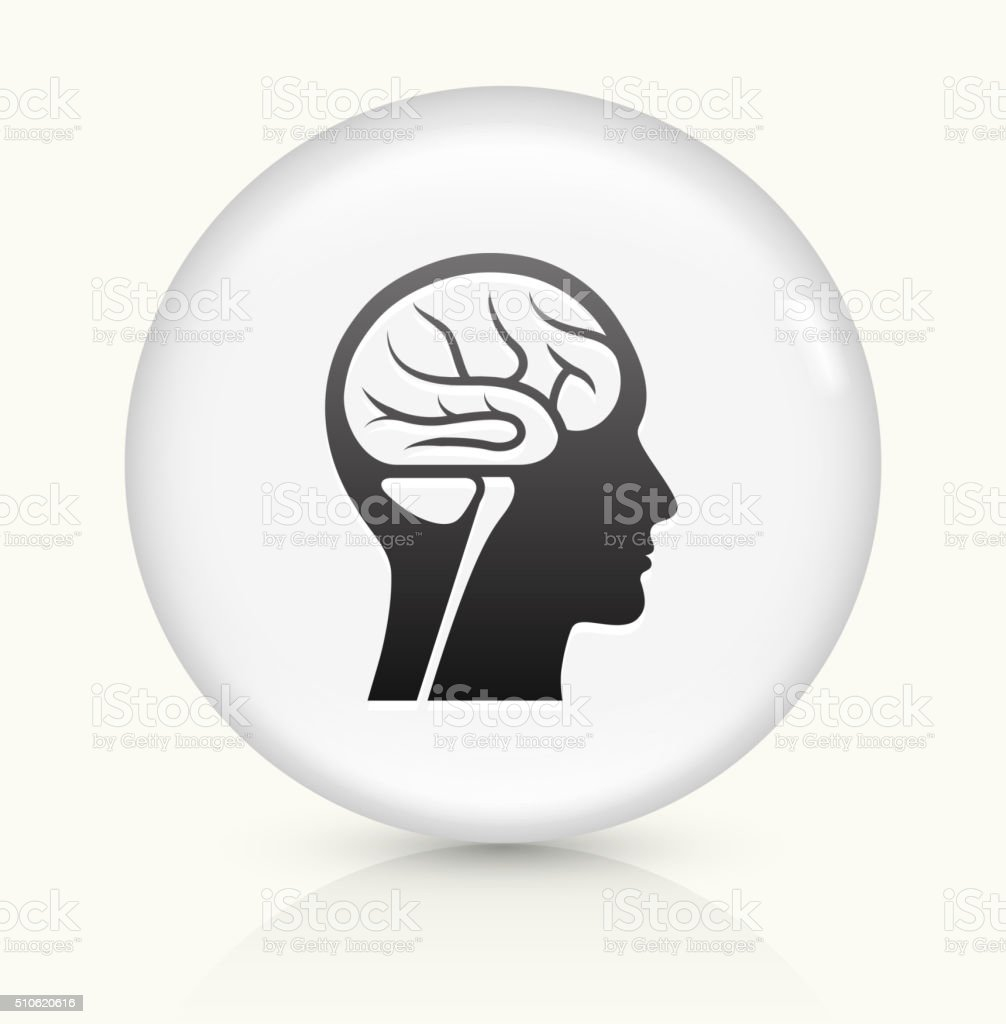 Brain Scan icon on white round vector button vector art illustration