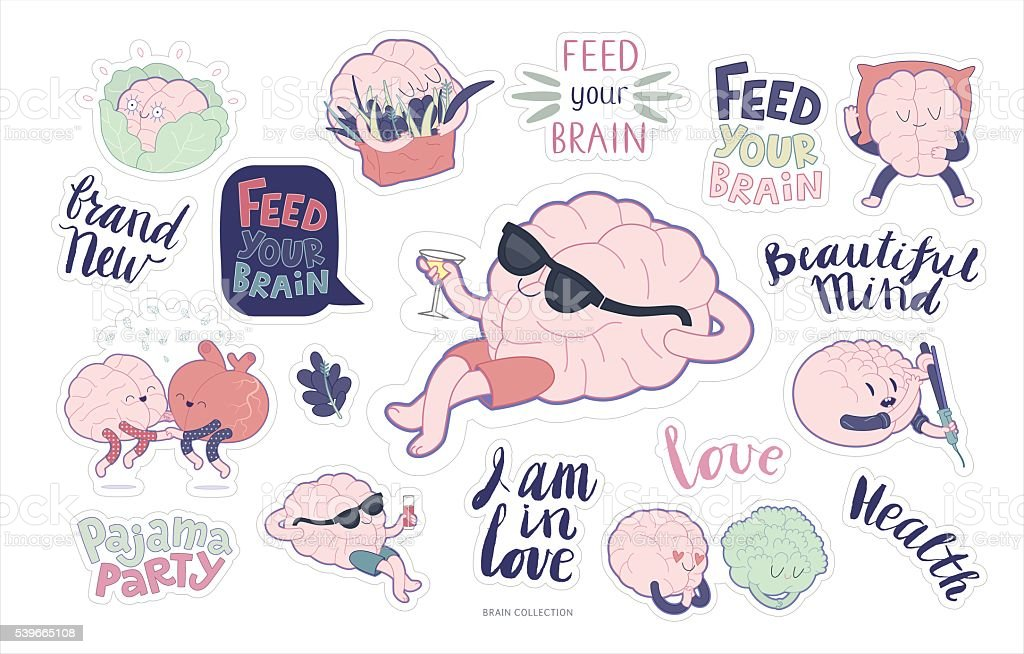 Brain stickers feed and leisure set vector art illustration
