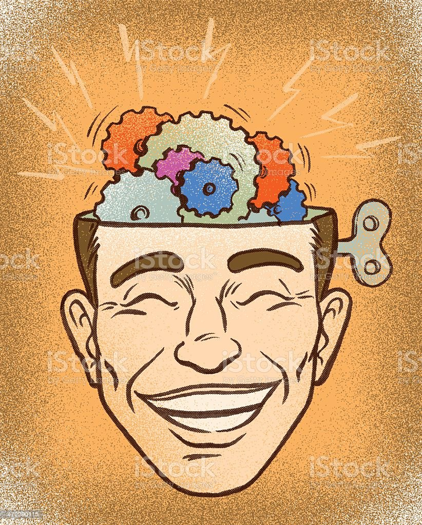 brain storming with the thinker vector art illustration