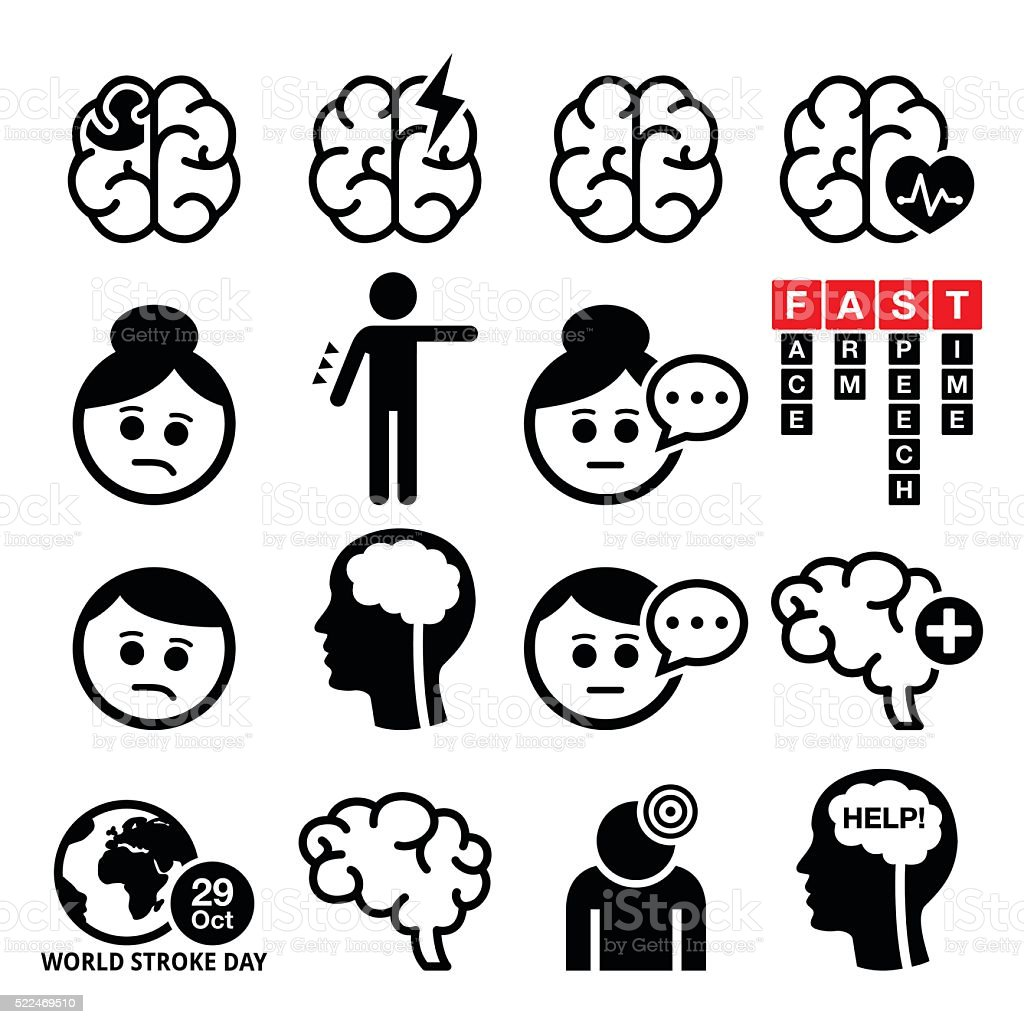 Brain stroke icons - brain injury, brain damage concept vector art illustration