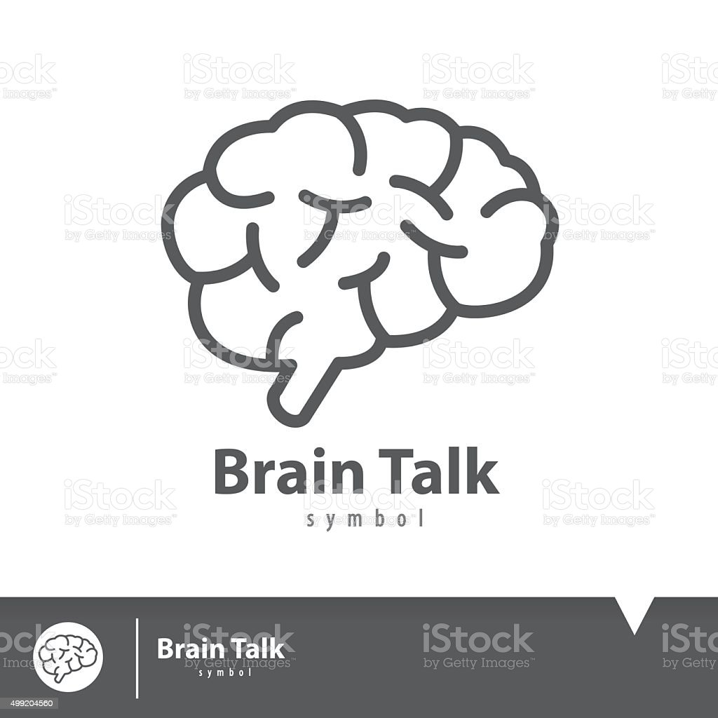 Brain talk icon symbol vector art illustration