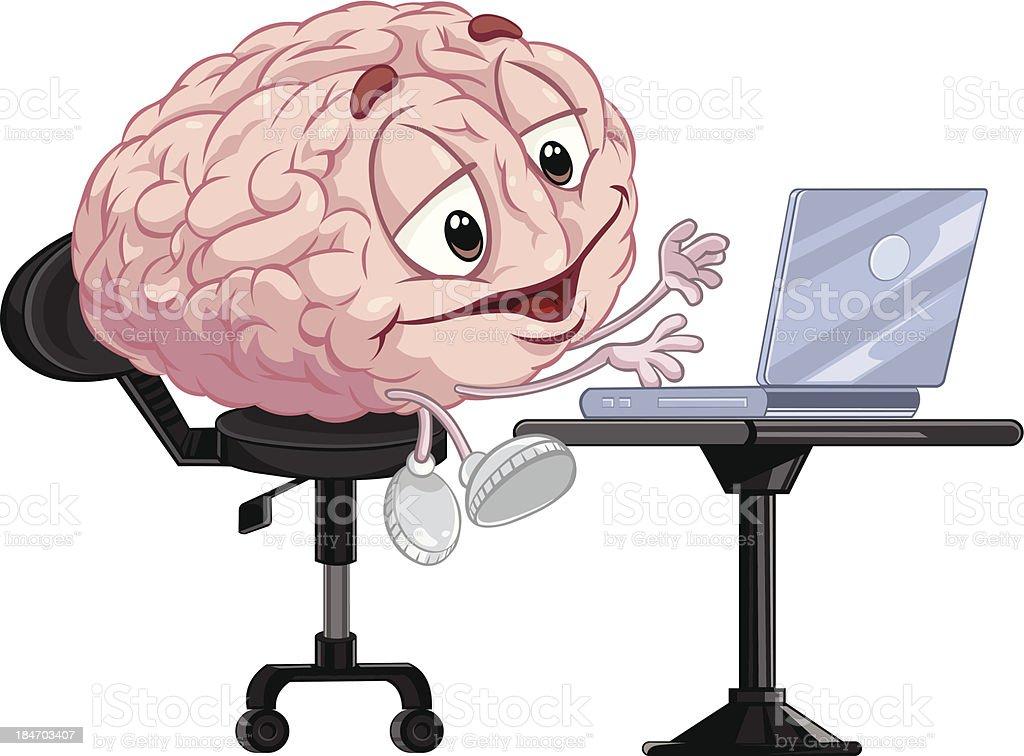 Brain using laptop. royalty-free stock vector art