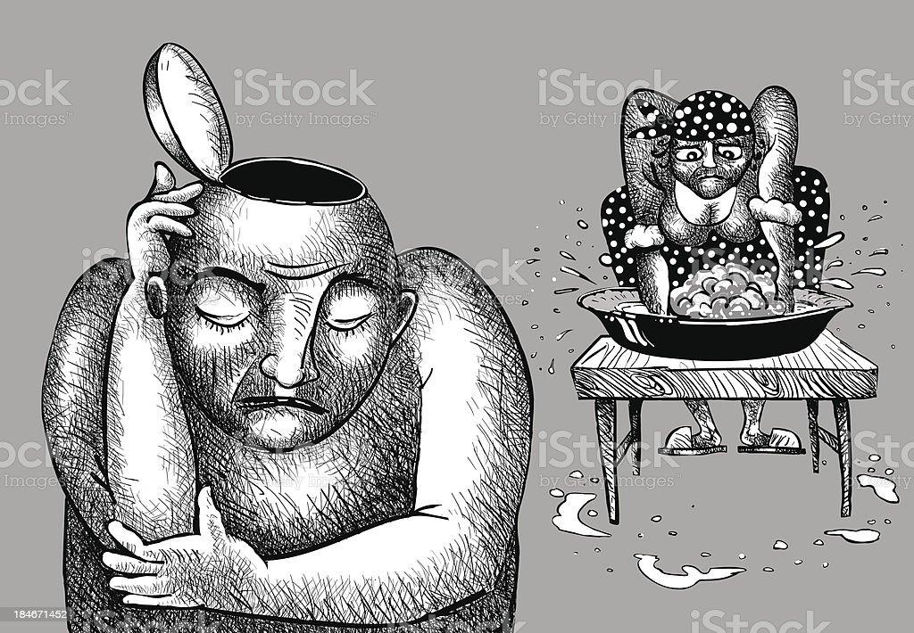 Brain washing vector art illustration