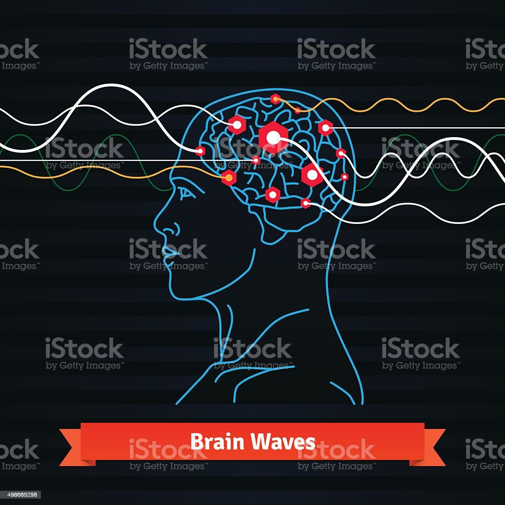 Brain waves. Electrodes connected to a man head vector art illustration