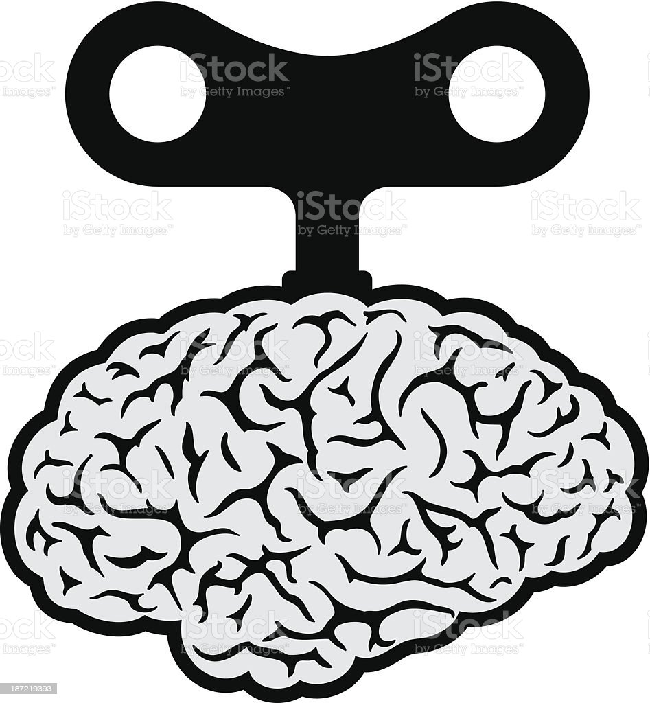 Brain with a wind-up key royalty-free stock vector art
