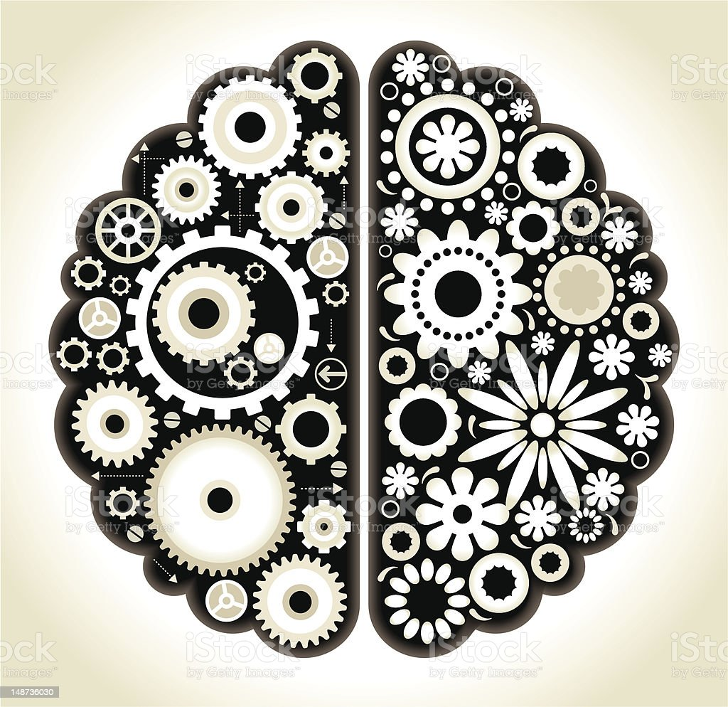 Brain with gears royalty-free stock vector art