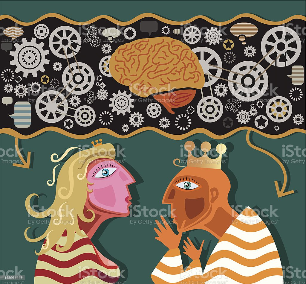 Brain with People vector art illustration