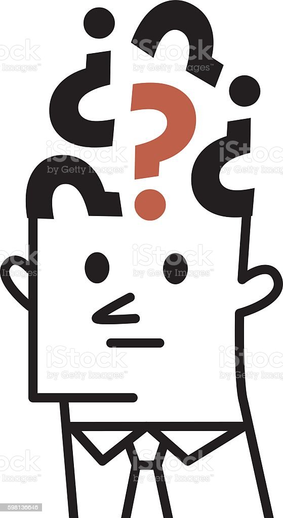 Brain with Question mark vector art illustration