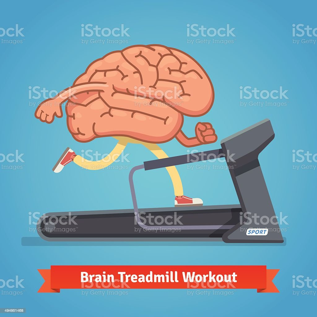 Brain working out on treadmill. Education concept vector art illustration