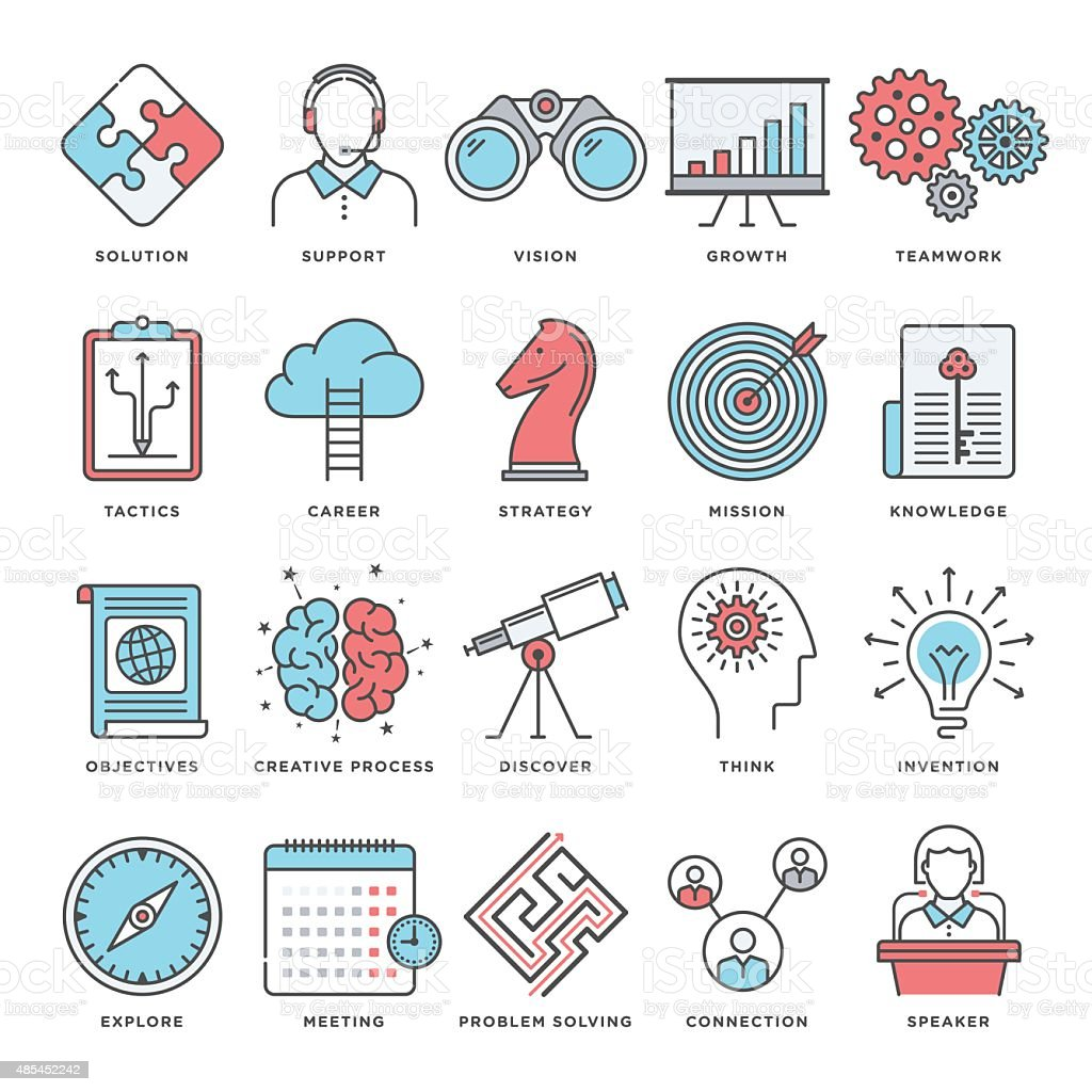 Brainstorming and Productivity Icons vector art illustration