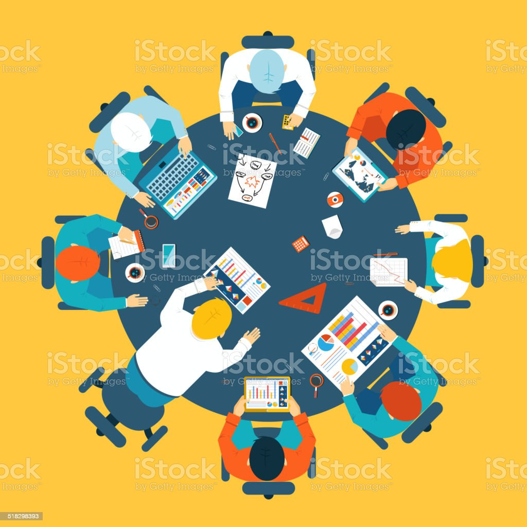 Brainstorming and teamwork concept vector art illustration