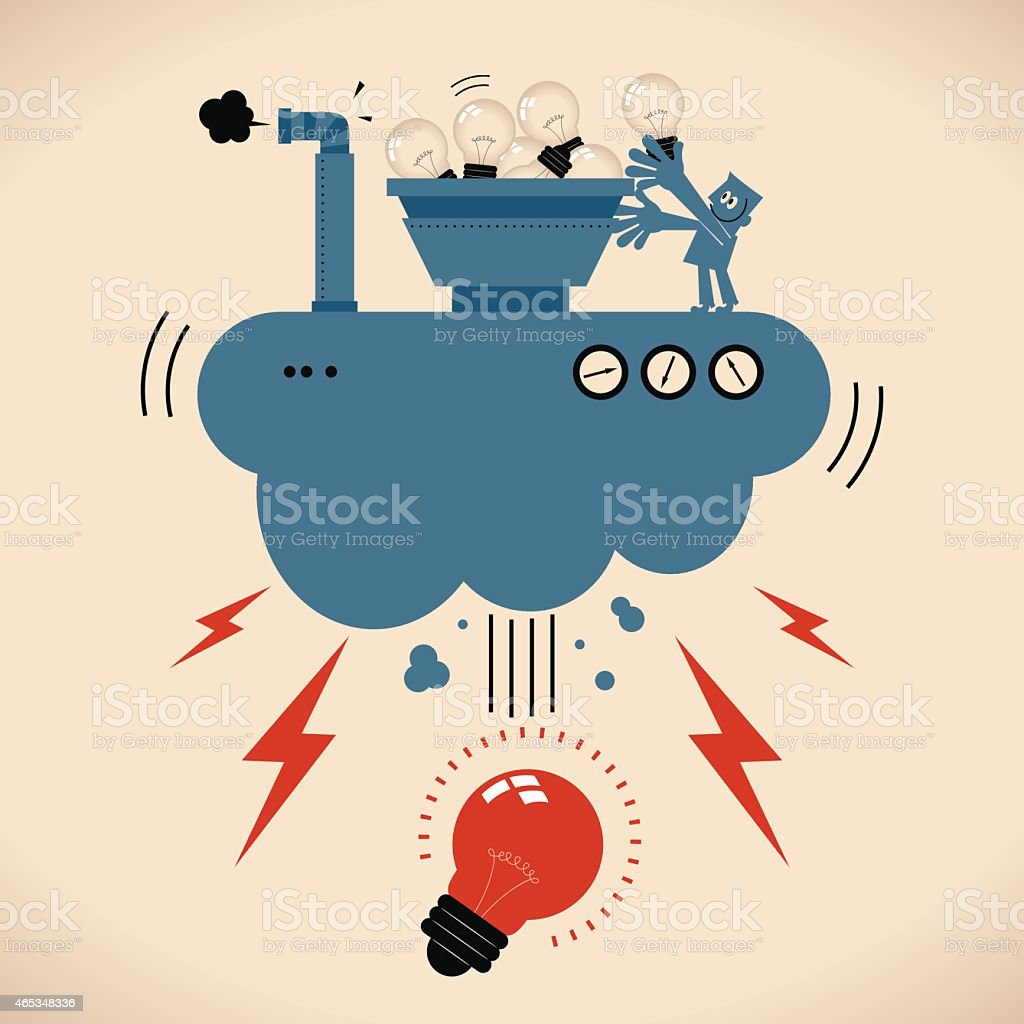 Brainstorming concept, man putting lots of idea bulbs into machine vector art illustration