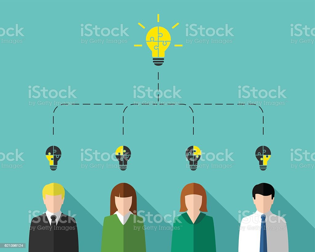 Brainstorming concept with business team vector art illustration
