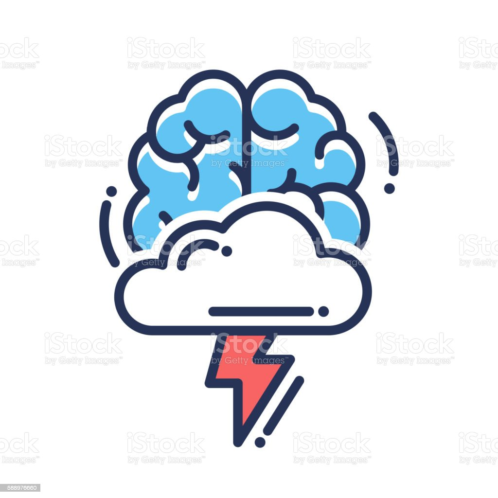 Brainstorming flat design single isolated icon vector art illustration