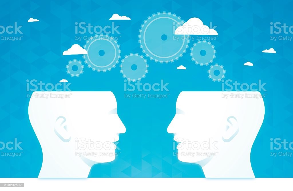 Brainstorming Gears Thinking People vector art illustration