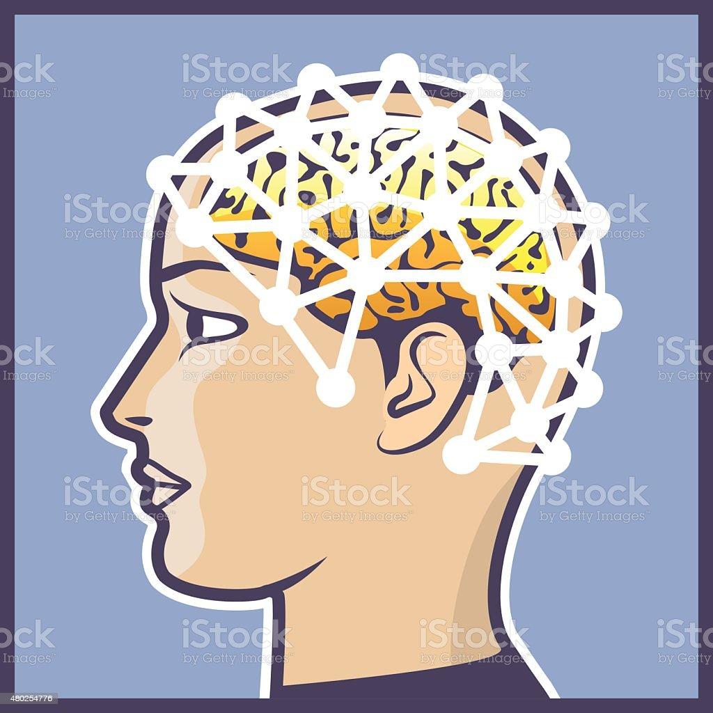 EEG brainwave reading Vector Illustration vector art illustration
