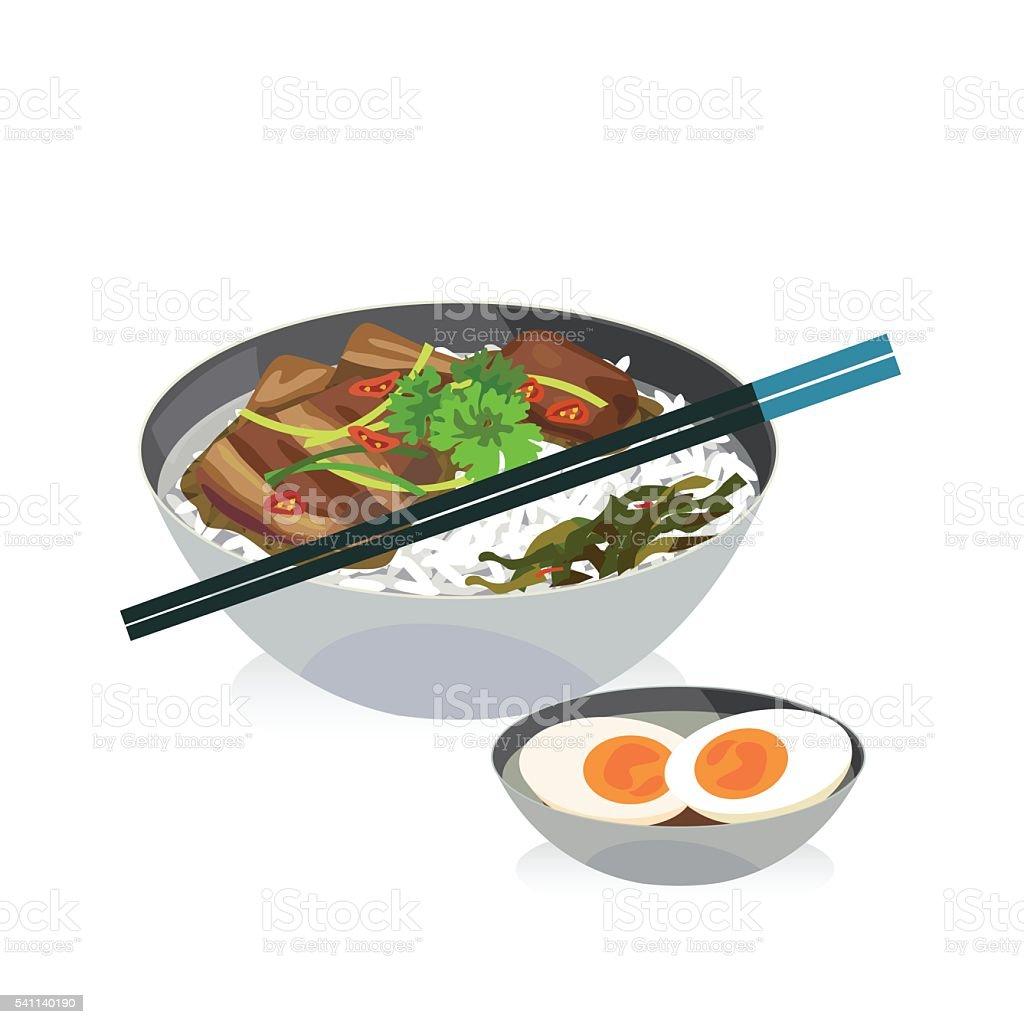 braised pork vector art illustration