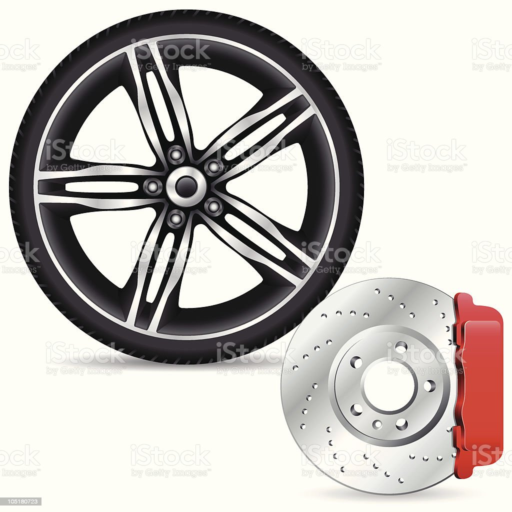 brake disc and alloy wheel vector art illustration