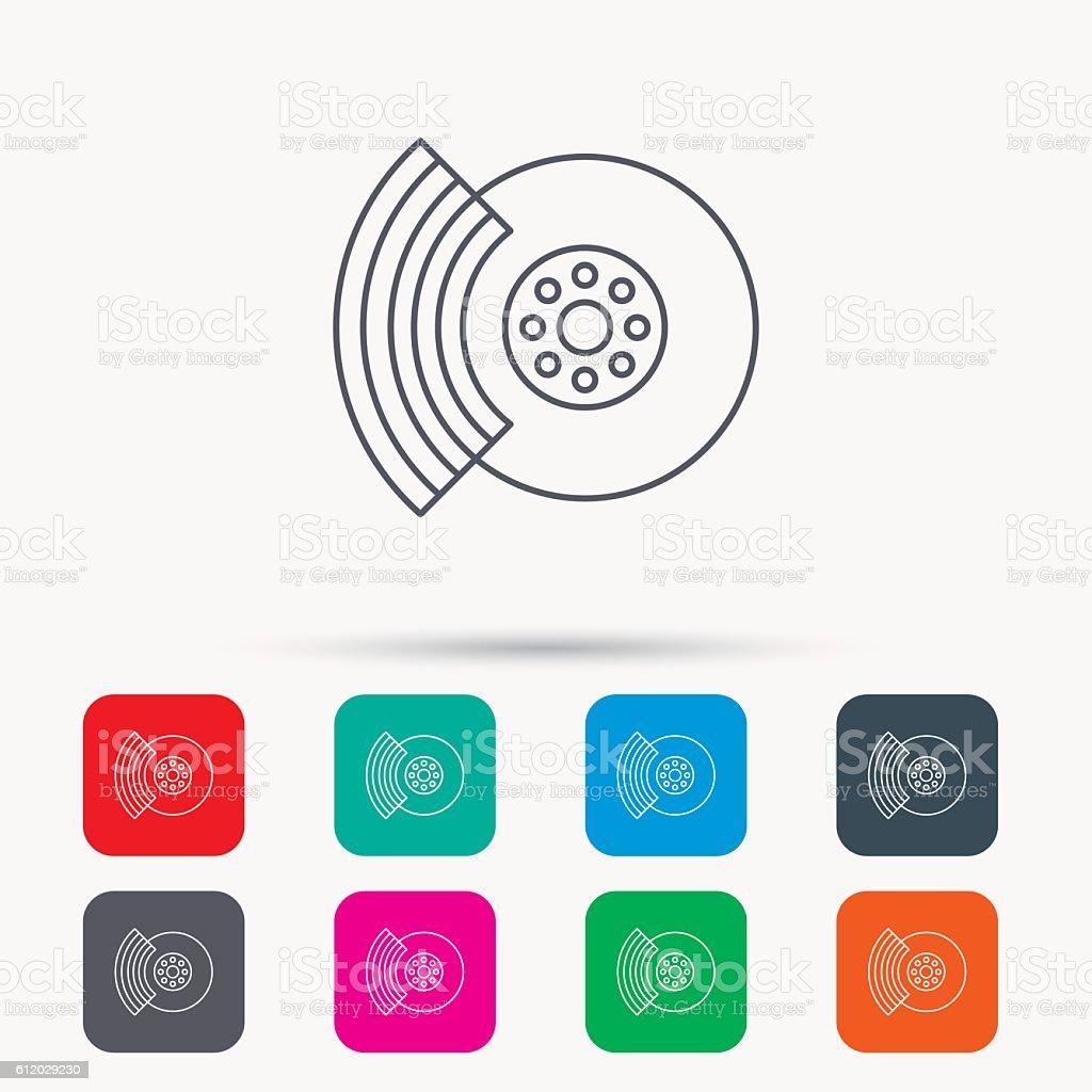 Brakes icon. Auto disk repair sign. vector art illustration