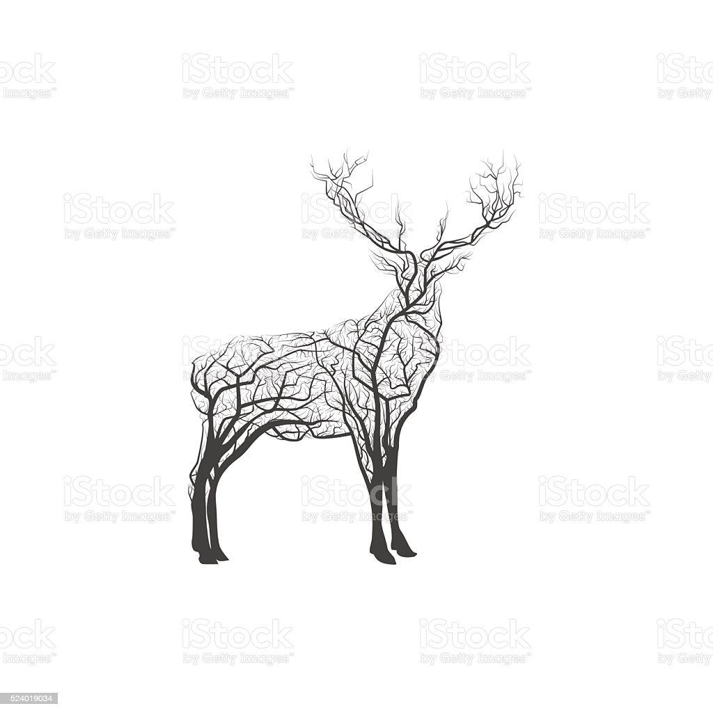 Branch Deer. Vector Illustration vector art illustration