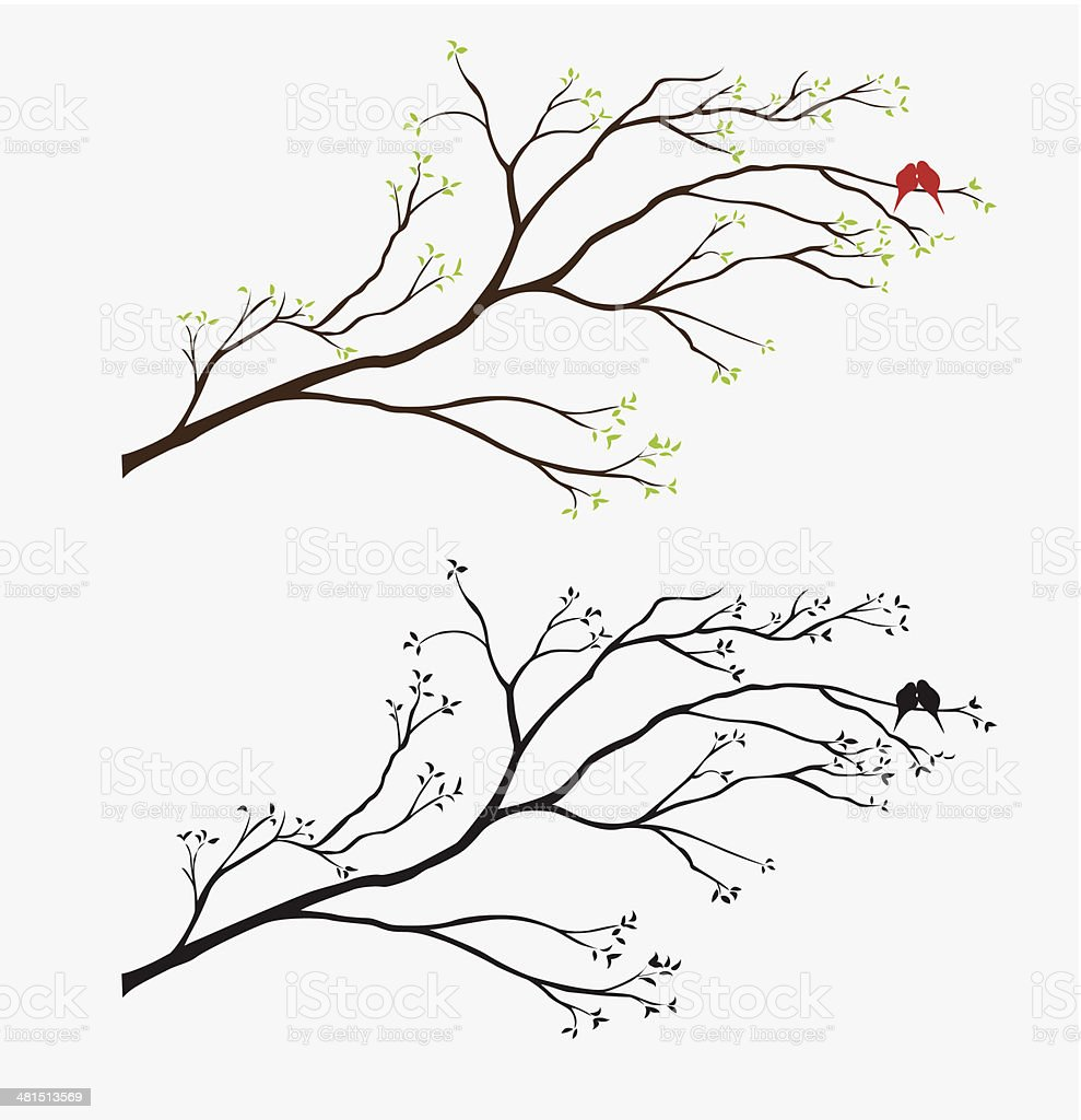 Branch Flowers Wall Decal vector art illustration