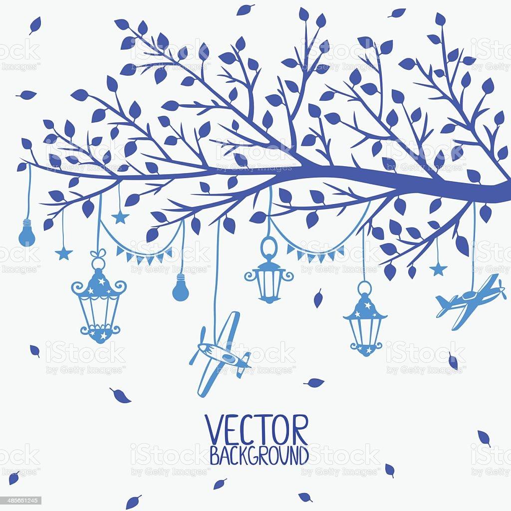branch lanterns vector art illustration