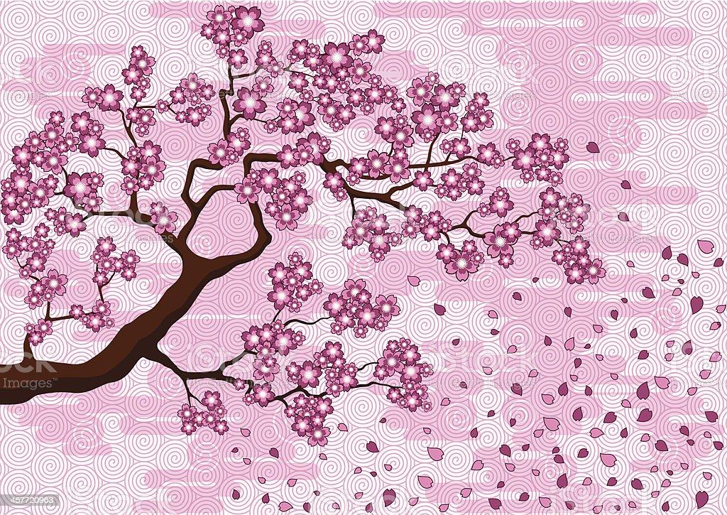 Branch of Sakura vector art illustration
