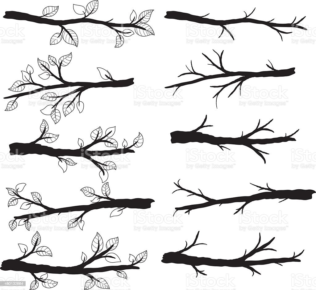 Branch Silhouettes with Leave- Illustration vector art illustration