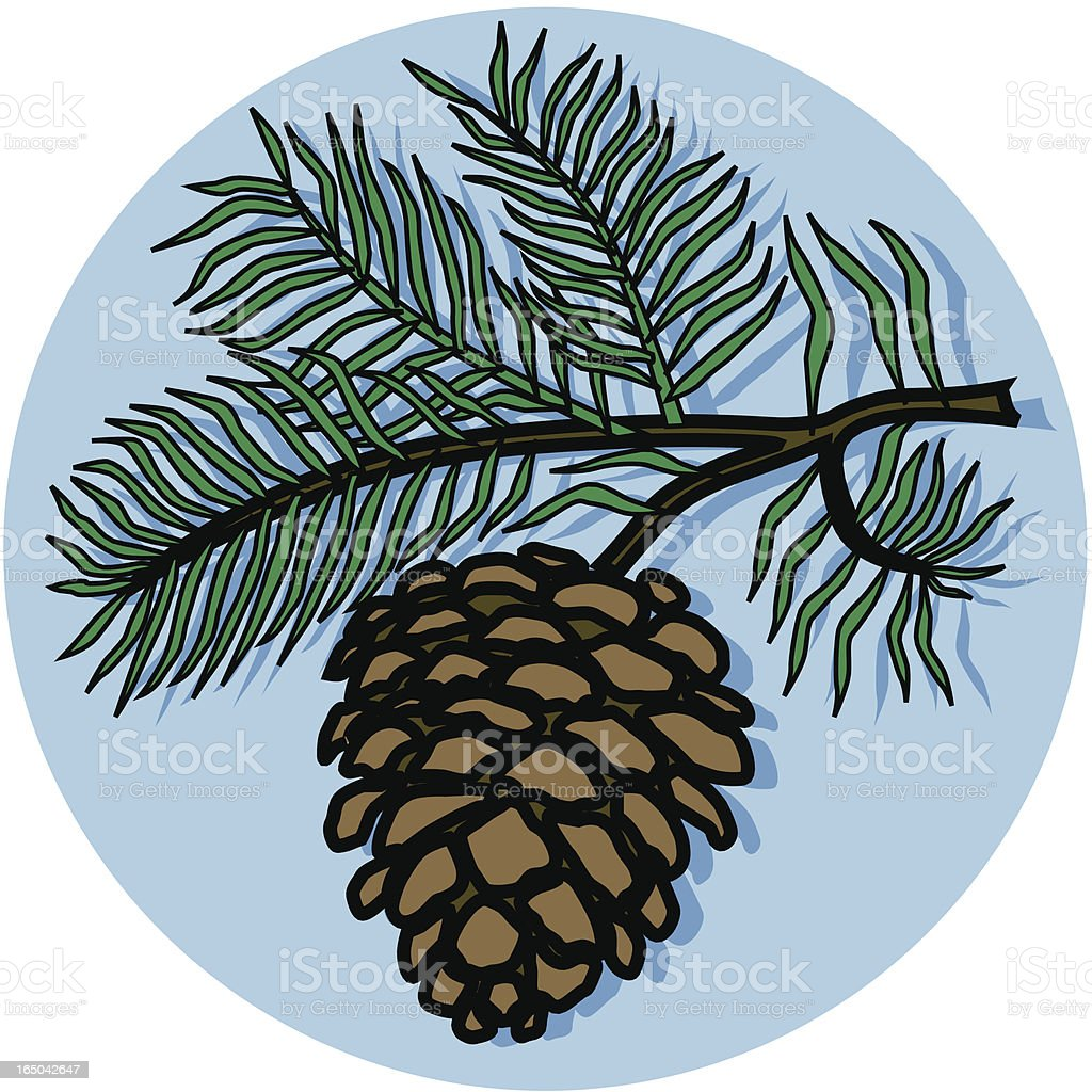 branch with pinecone icon royalty-free stock vector art