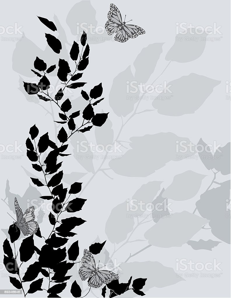 Branches with Leaves and Fluttering Butterflies silhouette Background royalty-free stock vector art