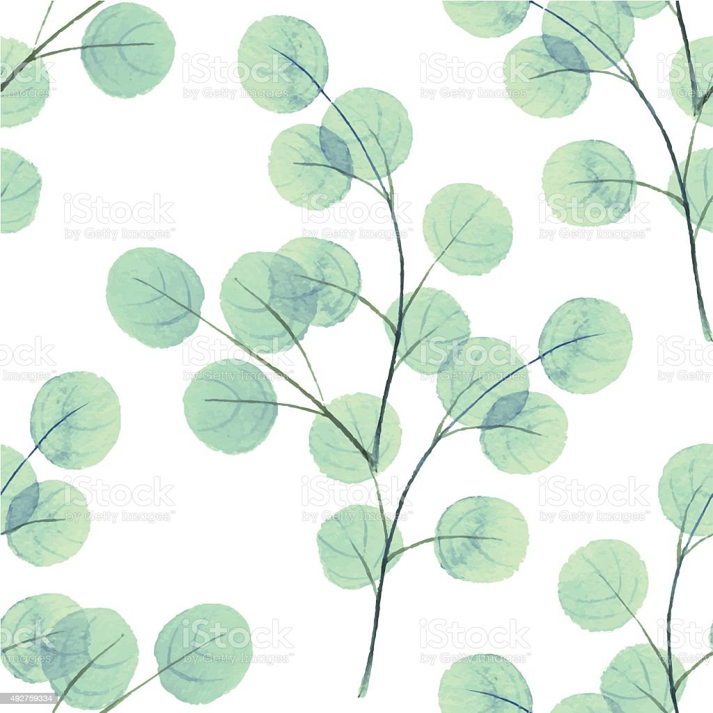 Branches with round leathes. Watercolor vector background 2 vector art illustration