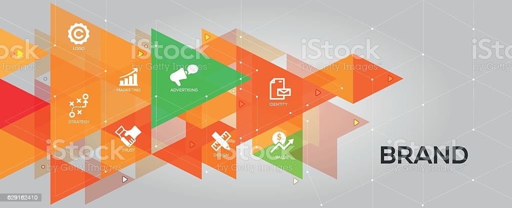 Brand banner and icons vector art illustration
